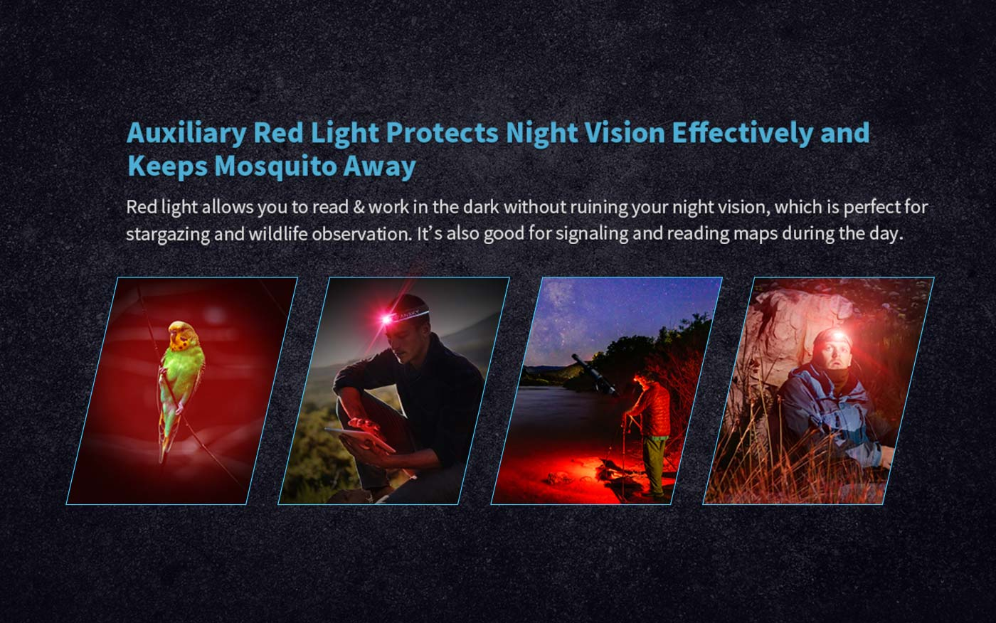 18650 led headlamp with red, red head flashlight