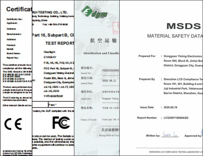 Cyansky flashlight certificate, flashlight ce rohs fcc msds certificate