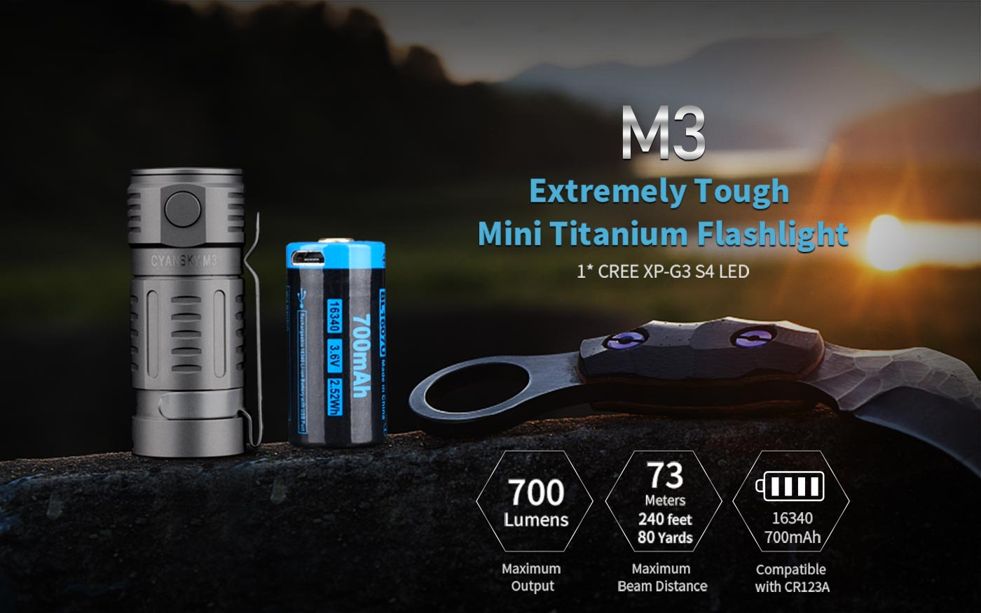 mini size edc torch, titanium led torch