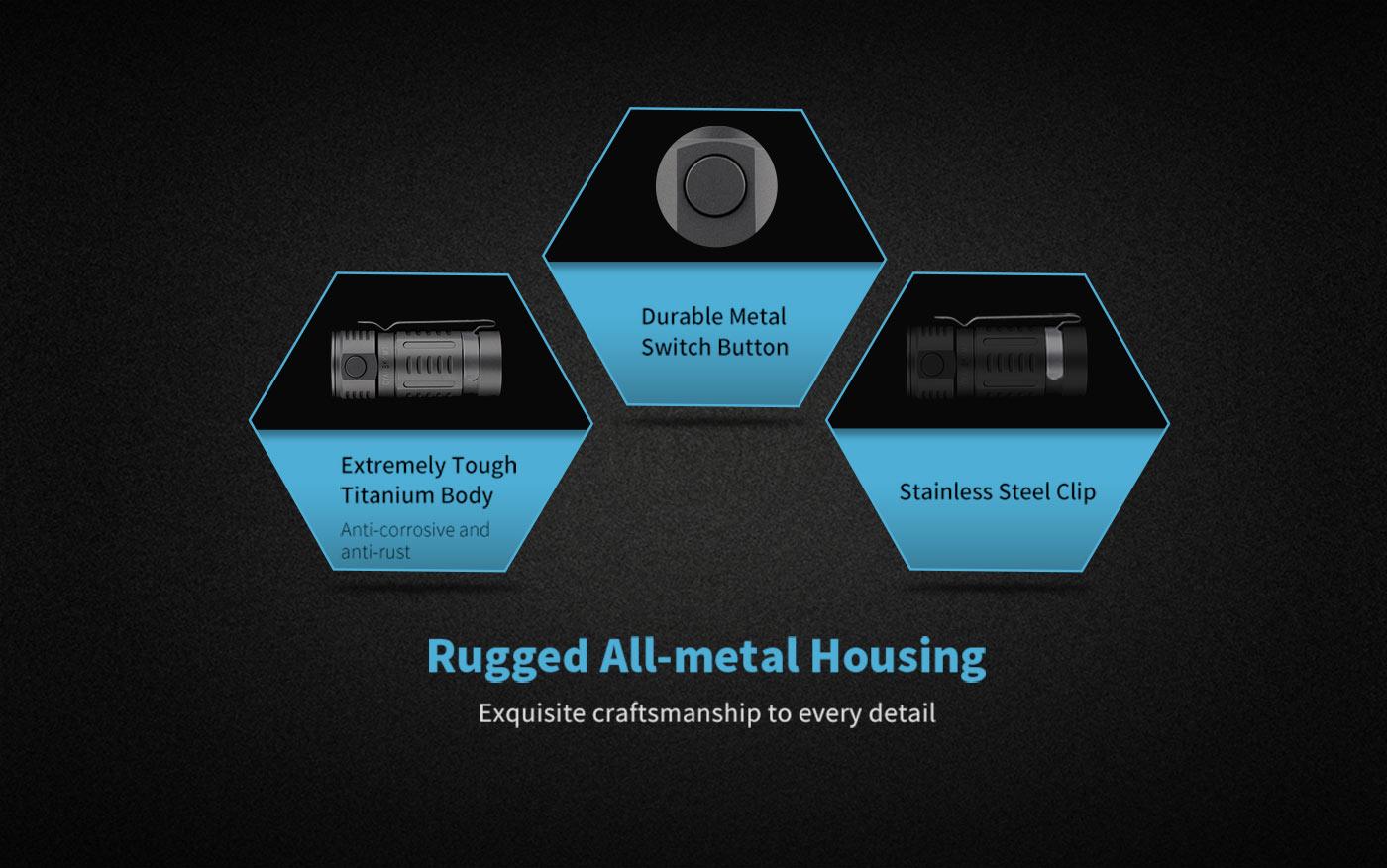rugged titanium led flashlight, small titanium flashlight torch, every day carry flashlight