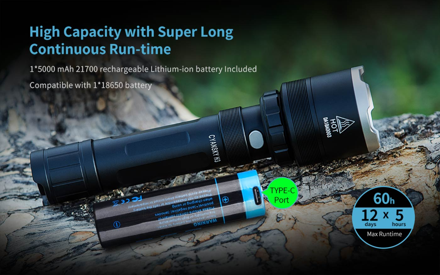 powerful hunting flashlight, long lasting flashlight for hunters, 21700 battery flashlight