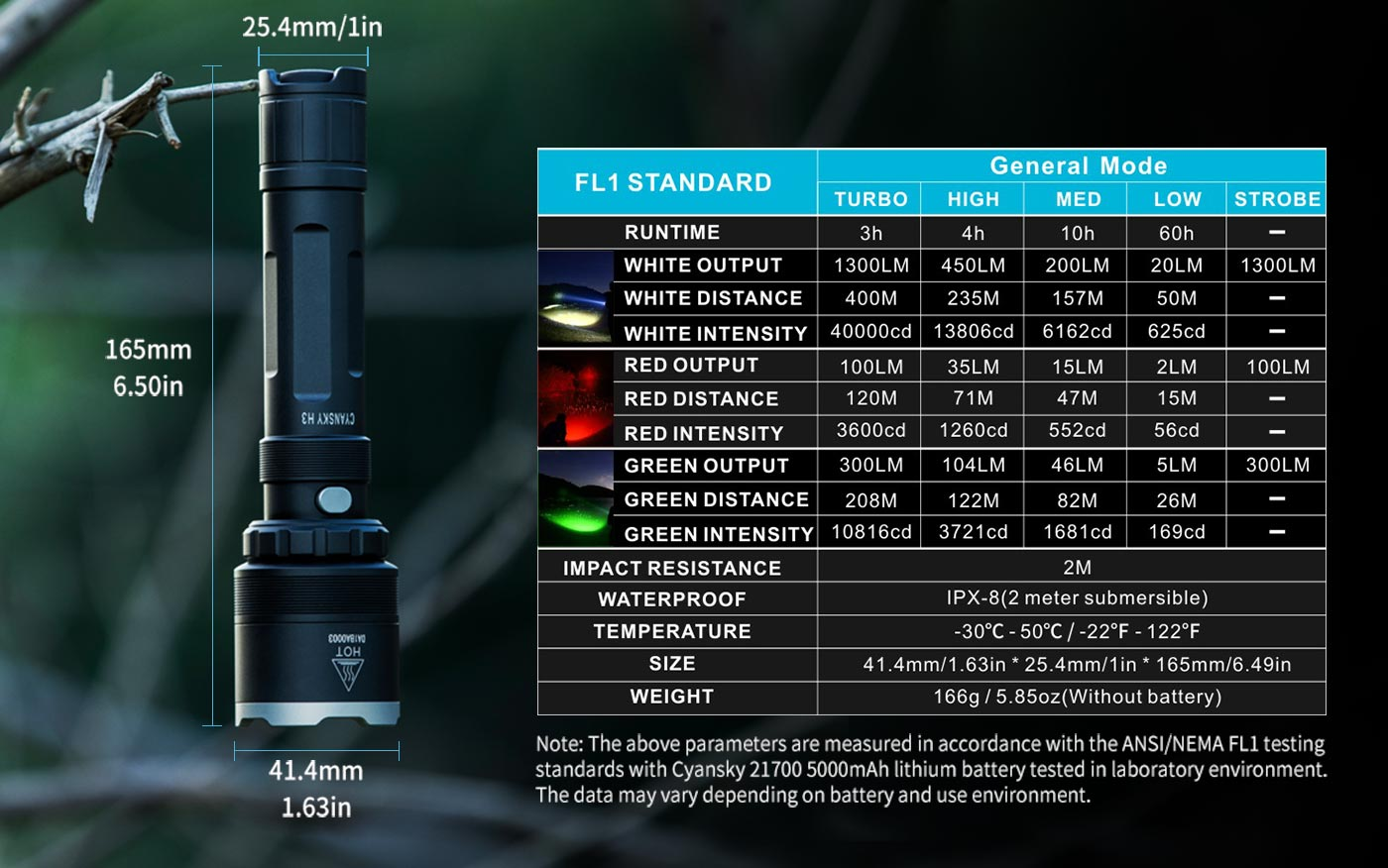 hunting flashlight specifications, hunting torch parameters, reliable hunting torch