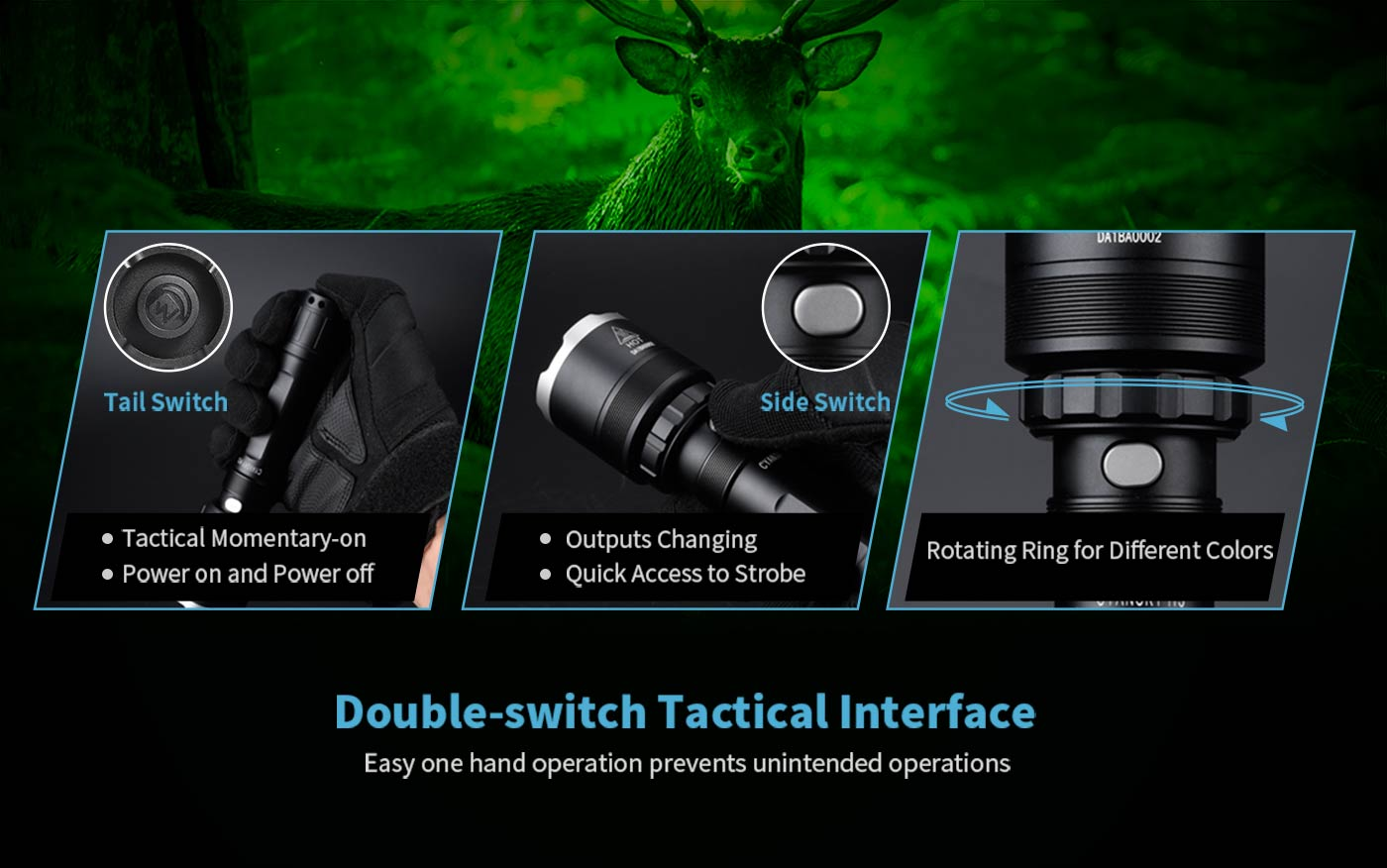 dual-switch hunting flashlight, led torch for hunters, portable led torch
