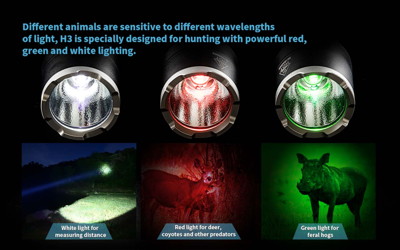 White, gree and red light torch, led flashlight for hunters, led hunting torch