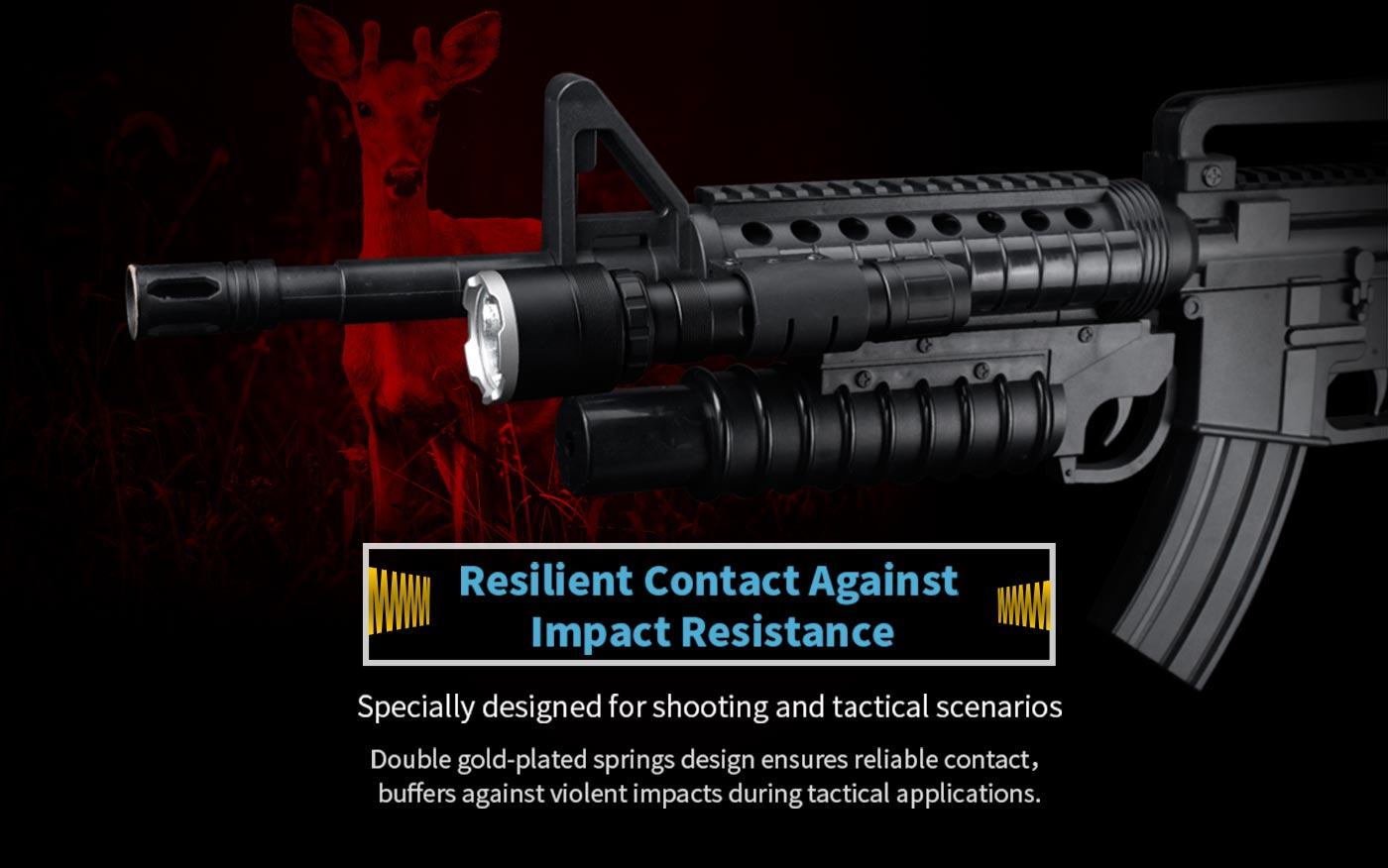shockproof flashlight for gun, impact resistant flashlight, tactical hunting gear